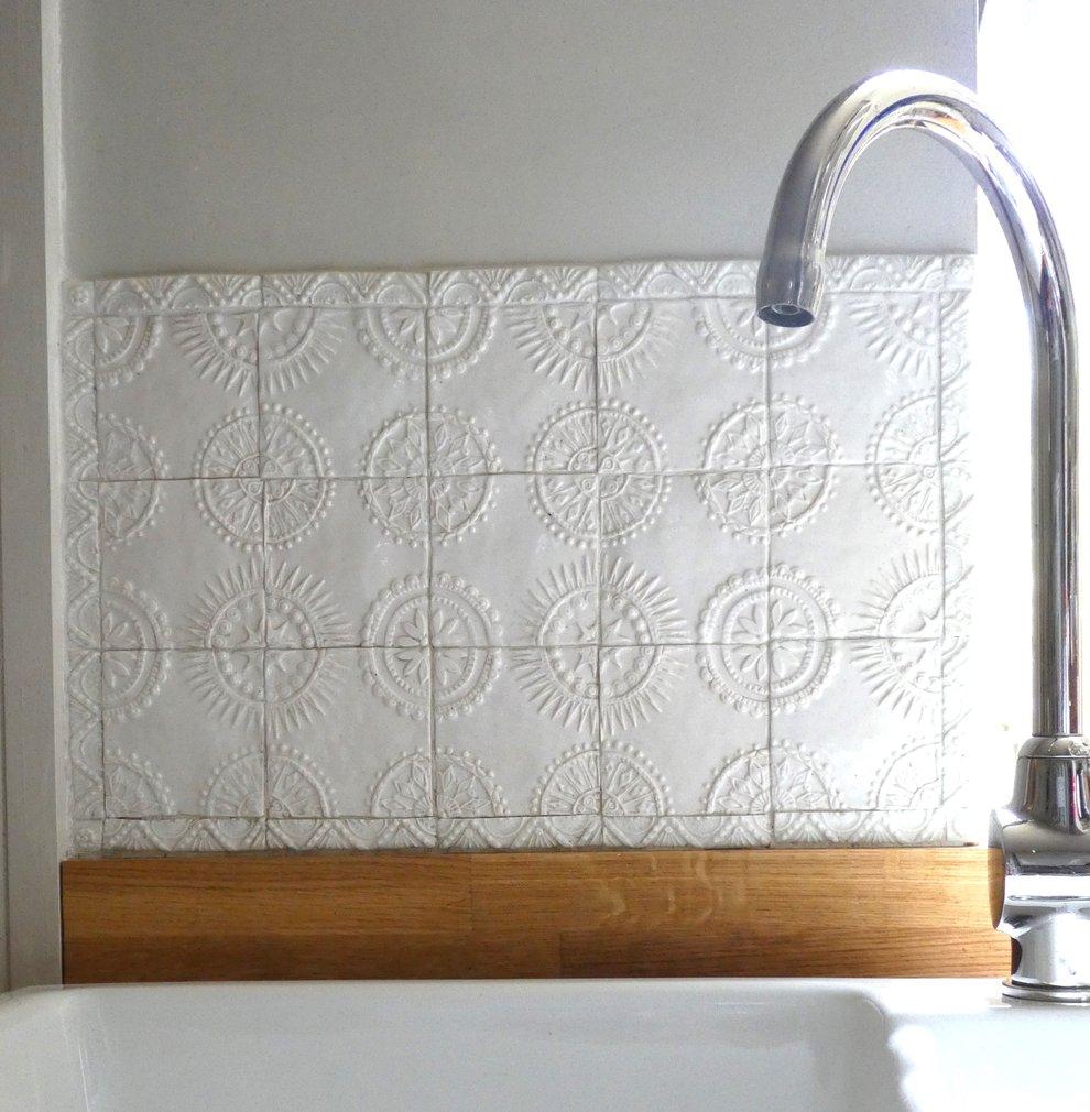 tiles behind a sink